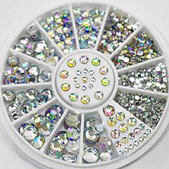 4 tamaño 300pcs clavo rueda decoración rhinestone brillo extremidades del arte del cristal