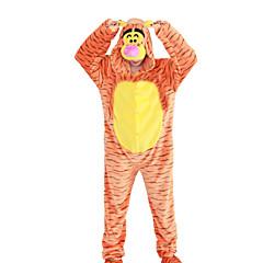 Kigurumi Pyjamas Tiger Trikoot/Kokopuku Halloween Animal Sleepwear Oranssi Eläinkuviointi / Patchwork Polar Fleece Kigurumi Unisex