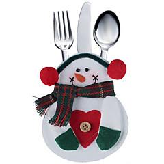 2 개 주방 식기 가방 눈사람 포켓 silveware 홀더 크리스마스 파티 장식을 설정합니다