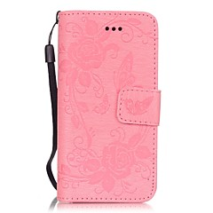 PU Leather Embossed Butterfly Flower Pattern Solid Color Wallet Case with Card Slots for iPhone SE 5s 5