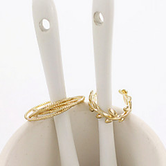 European Style Golden Leaf Band Midi Ring for Men/Women Jewelry(2PCS/Set)