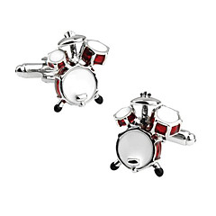 Men's Fashion Drum Style Silver Alloy French Shirt Cufflinks (1-Pair) Christmas Gifts