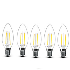 2W E14 Luzes de LED em Vela C35 2 COB 200 lm Branco Quente Decorativa AC 220-240 V 5 pçs