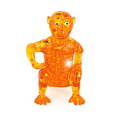 ABS 3D DIY Monkey Crystal Puzzle Animal Educational Toys For Kids Or Adults Yellow/Grey