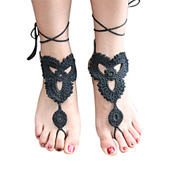 Women's Fashion Solid Lace Crochet Barefoot Sandals Beach Anklet