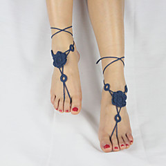 Women's Handmade Circle Crochet Cotton double Flowers Ankle Chain Anklet Barefoot Sandals