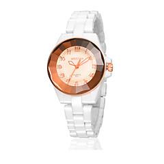 Dames Modieus horloge Gesimuleerd Diamant Horloge Kwarts Waterbestendig Vrijetijdshorloge imitatie Diamond Keramiek Band Wit Wit
