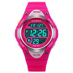 SKMEI Kinderen Sporthorloge Digitaal horloge Digitaal LCD Kalender Chronograaf Waterbestendig alarm Lichtgevend Stopwatch Rubber Band