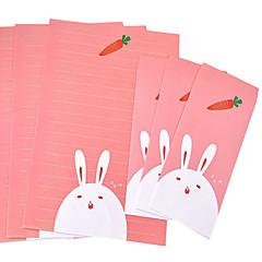 suite papeterie de dessin animé (3 +3 enveloppes papier à lettres, enveloppes lettre de 8.6 * 17.6cm, 18,5 * 26cm, motif aléatoire)