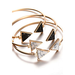 Alloy Trangle Natural Stone Gem Adjustable Cuff Bangle Bracelet Christmas Gifts