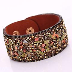 New Fashion Charm Women Magnet Alloy Buckle Leather Shiny Gravel Multilayer Magnetic Width Bangle Bracelet