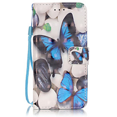 PU Leather Material 3D Painting Blue Butterfly Pattern Phone Case for  iPhone 6s Plus / 6 Plus/6S/6/SE / 5s / 5