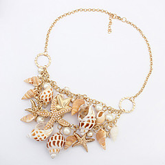 Women's Statement Necklaces Cowry Shell Alloy Fashion Golden Jewelry Party Daily Casual 1pc