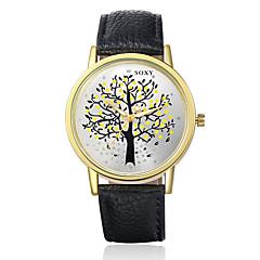 아가씨들 패션 시계 석영 캐쥬얼 시계 가죽 밴드 블랙 / 브라운 / 그린 상표-