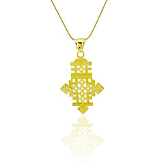 Ethiopian Cross Pendant Necklace Chain 18k Gold Filled Plated Ethiopia Item Jewelry Africa Women Men Size 2.4*4.2CM