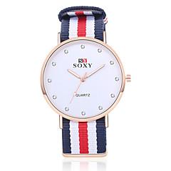 Herren Modeuhr Quartz Armbanduhren für den Alltag Stoff Band Weiß Rot Elfenbein Weiß Beige Rot