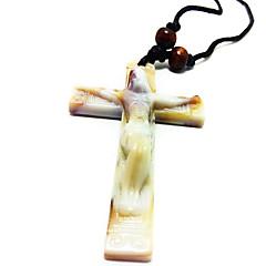 cruz collar de imitación hueso de cerámica colgante de Jesucristo