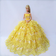 Party/Evening Dresses For Barbie Doll Golden / Yellow Dresses For Girl's Doll Toy