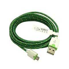 Plecionej tkaniny tkane 3m 10ft kabel micro ładowania danych kabel do synchronizacji dla samsung telefonów htc Sony USB (zielony)