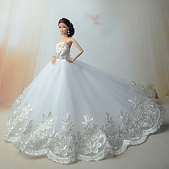 Wedding Dresses For Barbie Doll Silver / White Dresses For Girl's Doll Toy