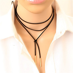 Necklace Choker Necklaces Jewelry Daily / Casual Fashion Alloy / Leather Gold / Black 1pc Gift