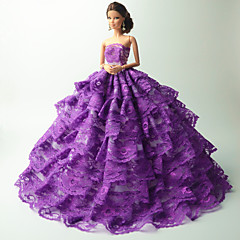Party/Evening Costumes For Barbie Doll Purple Dresses For Girl's Doll Toy