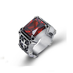 Men's Rings Retro Red Gem Personality Party Jewelry 1 pcs  Gothic Cross Patten Ring