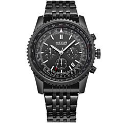 Masculino Relógio Elegante / Relógio de Pulso Quartz Calendário / Cronógrafo / / Aço Inoxidável Banda Casual Preta marca