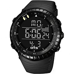 Masculino Relógio Esportivo / Relógio de Moda Digital LCD / Impermeável / alarme / Luminoso / Cronômetro Borracha Banda Legal Preta marca