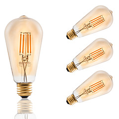 GMY® 4W E26 LED Filament Bulbs ST21 4 LED Filament 320 lm Amber Color Dimmable AC 120V 4 pcs