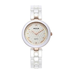 KEZZI Women's Fashion Watch Quartz Japanese Quartz Ceramic Band Elegant Casual White