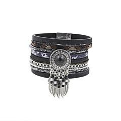 Fashion Women Multi Rows Stone Set Dream Catcher Drop Learher Bracelet Christmas Gifts