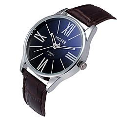 Hombre Reloj de Pulsera Cuarzo / Piel Banda Encanto Negro / Marrón Marca