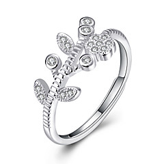 Fine Sterling Silver Leaves Diamond Statement Ring for Women Wedding Party