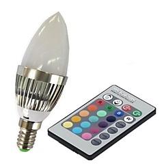 3W E14 Okos LED izzók C35 1 Nagyteljesítményű LED 100-230 lm RGB Távvezérlésű AC 85-265 V 1 db.
