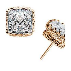 Heren Dames Oorknopjes Kristal Modieus Zirkonia Kubieke Zirkonia Legering Rechthoekige vorm Kroonvorm Geometrische vorm Sieraden Voor