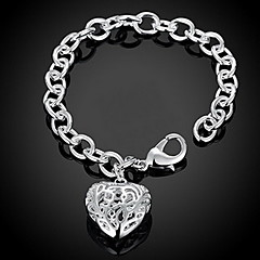 Mujer Cadenas y esclavas Pulseras charm Amor Corazón Moda Adorable Personalizado joyería de disfraz Plata de ley Forma de Corazón Amor