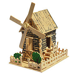 Jigsaw Puzzles 3D Puzzles / Wooden Puzzles Building Blocks DIY Toys Windmill Wood Beige Model & Building Toy