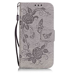 Butterfly Pattern Embossing Material PU Card Holder Leather for  iPhone 7 7 Plus 6s 6 Plus SE 5s 5