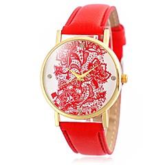 Damskie Modny Zegarek na nadgarstek Kwarcowy / Skóra Pasmo Postarzane Kwiat Nowoczesne Na co dzień Czarny Biały Niebieski CzerwonyWhite