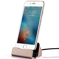 1 porta USB Presa US Caricabatteria a base / Caricatore portatile con cavo For iPhone Metal Look Cool(5V , 2,1A)