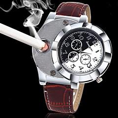 גברים שעוני אופנה שעון יד ייחודי Creative צפה קווארץ מצית פאנק עור להקה וינטאג' יוקרתי מגניב יום יומי יצירתי שחור חום שחור חום