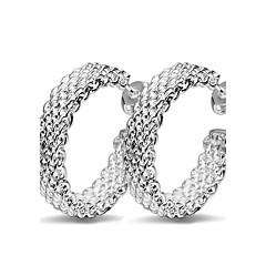 Fine 925 Silver Pierced Hoop Stud Earrings for Women