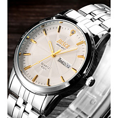 Hombre Reloj de Vestir Cuarzo Calendario / Resistente al Agua / Luminoso Acero Inoxidable Banda Casual Plata Marca