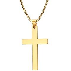 Miesten Riipus-kaulakorut Cross Shape Ruostumaton teräs Gold Plated Muoti minimalistisesta Kultainen Korut VartenParty Päivittäin