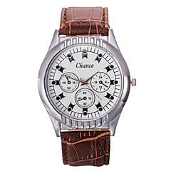 Men's Black Brown PU Leather Band Chance Analog Quartz Wrist Watch