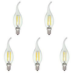 KWB 4W E12 LED Candle Lights C35 4 COB 380 lm Cool White Dimmable AC 110-130 V 5 pcs