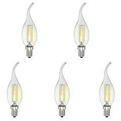 4.0 E12 Luces LED en Vela C35 4 COB 380 lm Blanco Fresco Regulable AC 110-130 V 5 piezas