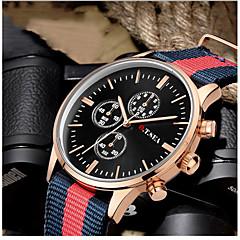Heren Modieus horloge Kwarts / Stof Band Vrijetijdsschoenen Zwart Wit