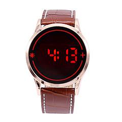 Męskie Sportowy Zegarek cyfrowy Cyfrowe LED Ekran dotykowy Skóra Pasmo Z Wisorkami Czarny
